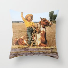Vintage Western Cowgirl On Horse In Hay Field Throw Pillow