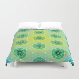 Ombre Dashed Hexagons Pattern Duvet Cover