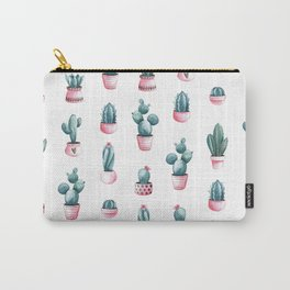 Succulents Cacti Pattern Pink Watercolor Carry-All Pouch