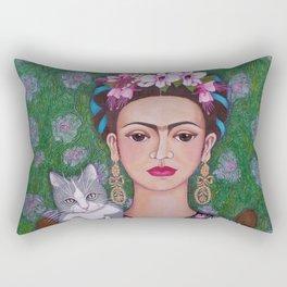 Frida cat lover closer Rectangular Pillow