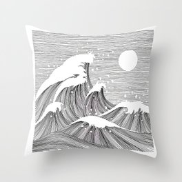 Wave Black and White Line Art Throw Pillow