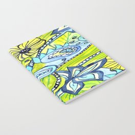 Turquoise, Yellow, and Green Floral Notebook