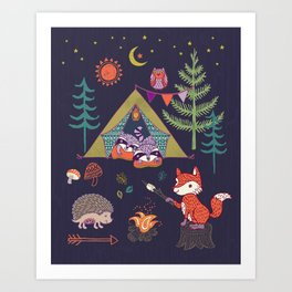 Racoon's Campout Art Print