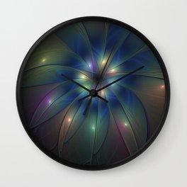 Luminous Fractal Art, Colorful Flower Graphic Wall Clock
