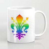 fleur de lis Mugs featuring Rainbow Fleur-de-Lis by Cool Prints
