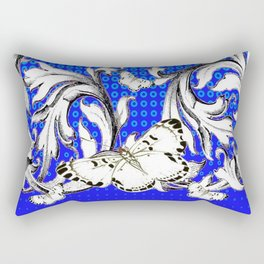 WHITE BUTTERFLIES FLUTTERING WITH BAROQUE FLORAL Rectangular Pillow