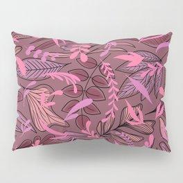 Modern Purple Pink Leaves Illustration Pattern Pillow Sham