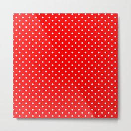 Dots (White/Red) Metal Print