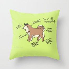 Longhaired Icelandic Sheepdog Throw Pillow