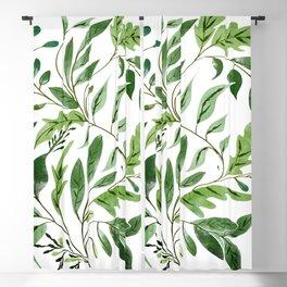 Botanical Abundance, Fresh Green Nature Watercolor Painting, Vibrant Leaves Minimal Illustration Blackout Curtain