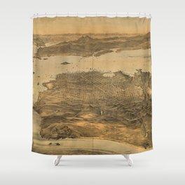 Bird's Eye View of San Francisco, California (1868) Shower Curtain