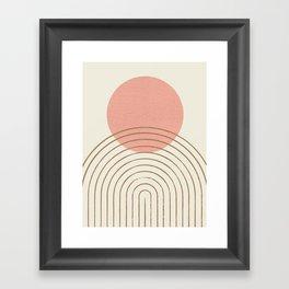 Pink Sun Mid-Century Full Framed Art Print