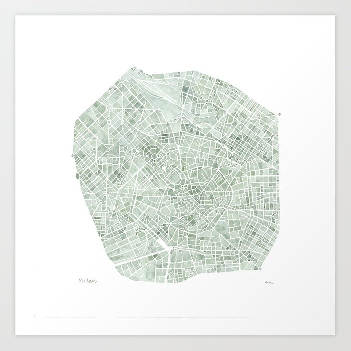 Milan Italy watercolor map Art Print