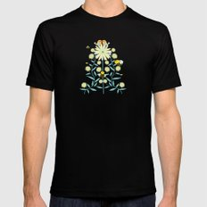 Bees, birds and flowers Mens Fitted Tee Black MEDIUM
