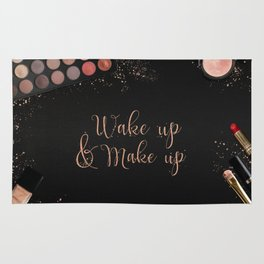 Wake up & make up - beauty fashion quote on modern beauty products flatlay Rug
