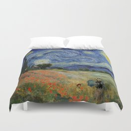 Poppy Fields + Starry Night | Collage 2.0 by Kristi Duggins Duvet Cover