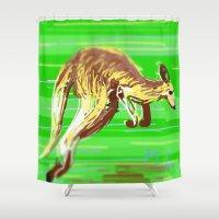kangaroo Shower Curtains featuring Kangaroo by wingnang