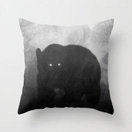 Black and White Bear Silhouette Throw Pillow