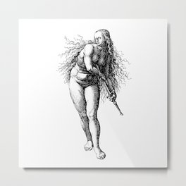 Vintage Illustration, A Woman with a Sword Metal Print