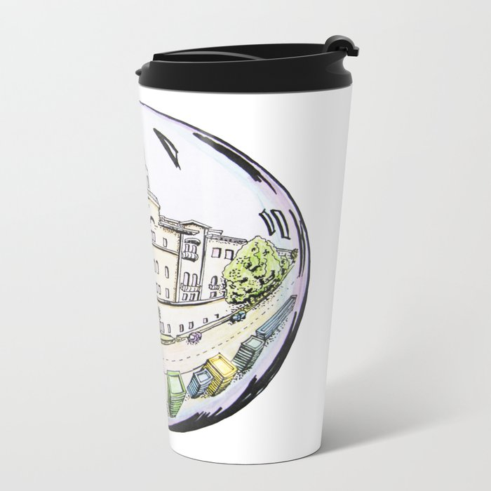 the city painted in pastel colours and in a bowl Metal Travel Mug