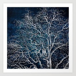 Midnight Silver tree - Hawtorn Art Print