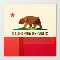 flag Canvas Prints featuring California by Fimbis
