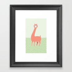 Green Meadows and a Peach Alpaca Framed Art Print