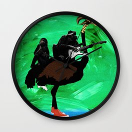 Monkey Band and an Ostrich - Surreal Image - Digital Collage Artwork Wall Clock