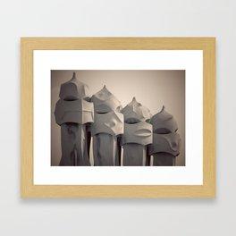 Gaudi's Chimneys Framed Art Print