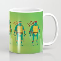 ninja turtles Mugs featuring Ninja Turtles - Pixel Nostalgia by Boo! Studio