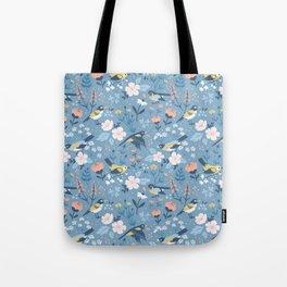 Birds & Blooms (Blue) Tote Bag