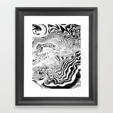 Suminagashi black and white marble spilled ink ocean swirl watercolor painting Framed Art Print