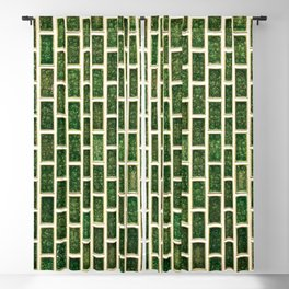 Green 70s Glass Tile // White Grout Natural Surface Texture Blackout Curtain