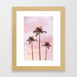 Palm Tree Photography | Landscape | Sunset Unicorn Clouds | Blush Millennial Pink Framed Art Print