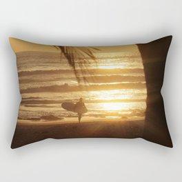 Golden Beach with Surfer (Color) Rectangular Pillow