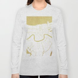New Orleans White and Gold Map Long Sleeve T-shirt