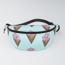 Cute Watercolor Piggy Ice Cream Pink Teal Pattern Fanny Pack