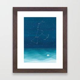 Orion Constellation, teal ocean sailboat illustration Framed Art Print
