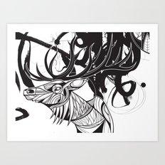 Elk black Art Print