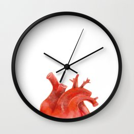 Watercolor anatomical human heart Wall Clock