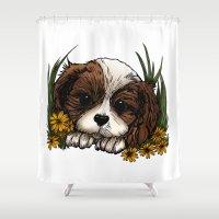 puppy Shower Curtains featuring Puppy by Adamzworld