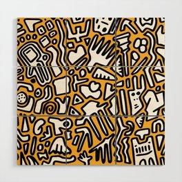 black doodle on orange Wood Wall Art