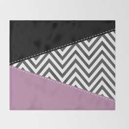Zigzag Pattern, Chevron Pattern - Gray Purple Black Throw Blanket