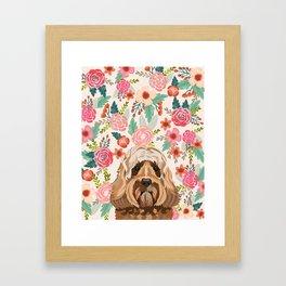 Labradoodle portrait floral dog portrait cute art gifts for dog breed lovers Framed Art Print