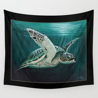 "biology Wall Tapestries featuring ""Moonlit"" - Green Sea Turtle, Acrylic by Amber Marine"