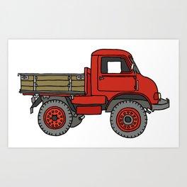Red truck / transporter Art Print