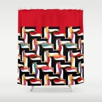 herringbone Shower Curtains featuring herringbone penguin by Sharon Turner