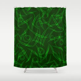 Abstract green tree branches, stalks and leaves for spring and summer mood. Shower Curtain