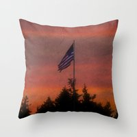 flag Throw Pillows featuring flag by On Eagles Wings