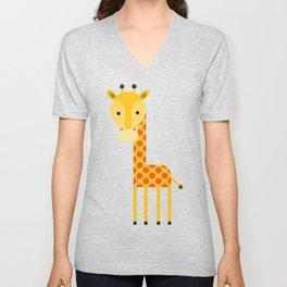 Adorable Giraffe standing up Unisex V-Neck